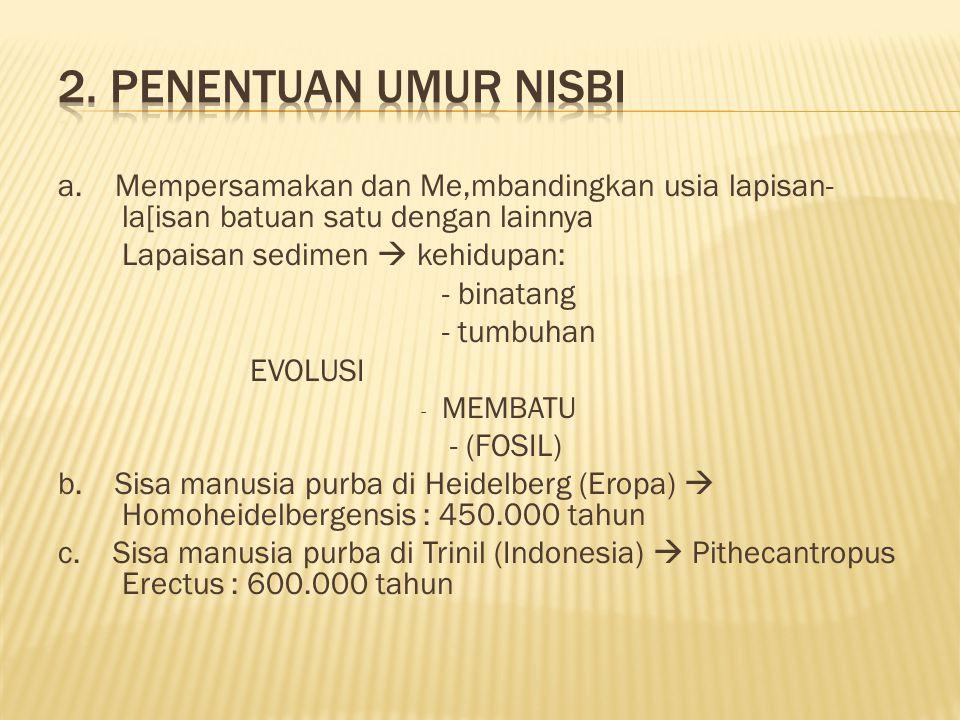 2. Penentuan Umur Nisbi a. Mempersamakan dan Me,mbandingkan usia lapisan-la[isan batuan satu dengan lainnya.